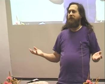 Richard Stallman speaking at Tampere, Finland