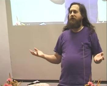 Richard Stallman speaking at Tampere, Finland